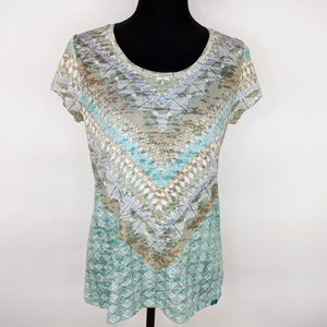Prana Aztec Print Loop Neck T Shirt